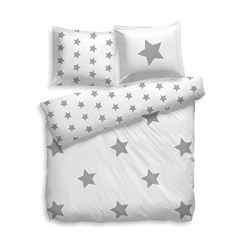 F2F Bettwäsche Flanell Stars Sterne I Größe 135x200 80x80 cm I Farbe Weiss-Grau I Baumwolle I Reißverschluss