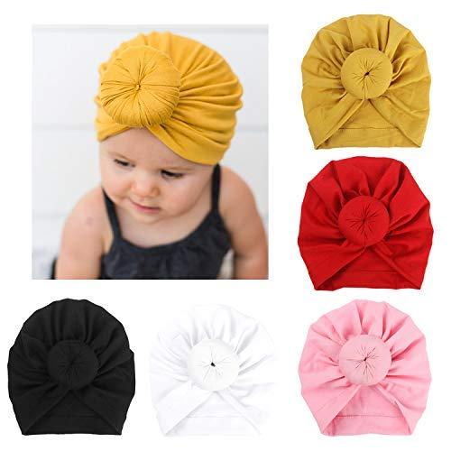 Dreshow 5 pezzi baby turbante cappelli turban bun knot bimbo neonato baby girl soft cute toddler cap