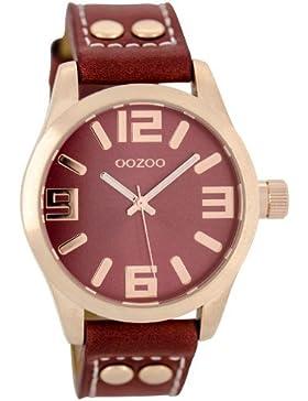 Oozoo Damenuhr mit Lederband 41 MM Rose/Korallrot C6313