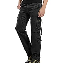 AYG Hombre Pantalon Negro Pantalones Cargo Pants Trousers Algodón ...
