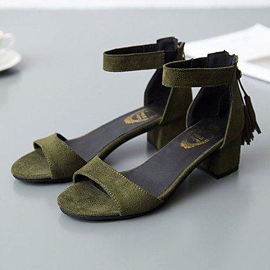 FSCHOOLY Scarpe Donna Primavera Cashmere Comfort Sandali Chunky Tallone Punta Aperta Per Nero Casual Verde Militare Army green