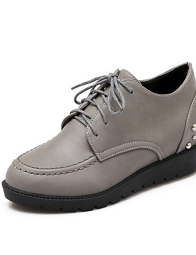 ZQ 2016 Scarpe Donna - Stringate - Formale / Casual - Punta arrotondata / Stivali - Zeppa - Finta pelle - Nero / Grigio / Borgogna , black-us7.5 / eu38 / uk5.5 / cn38 , black-us7.5 / eu38 / uk5.5 / cn gray-us5.5 / eu36 / uk3.5 / cn35