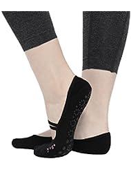 CBValley Calcetines de yoga Pilates Calcetines Fitness / Danza / Ballet Calcetín para Mujer Tamaño UK 2,5-7 / EU 35-40 (Negro)