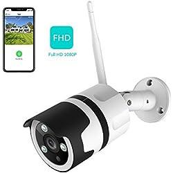 Netvue Caméra de Surveillance extérieure 1080P FHD WiFi IP Compatible avec Alexa, IP66 étanche à la poussière, caméra IP avec Vision Nocturne