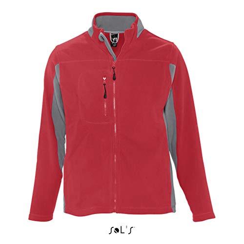 Sol'S Nordic - Veste Polaire zippée Homme Bicolore - Tissu avec Finition Anti-bouloche - Rouge - L