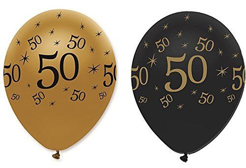 50th Black & Gold Balloons. Packs of 6, 12, 18, 24 or 30.