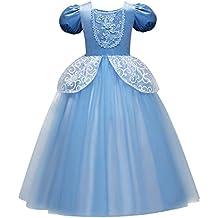 22165d600 OBEEII Niñas Cenicienta Disfraz Carnaval Traje de Princesa para Halloween  Navidad Fiesta Ceremonia Aniversario Cosplay Costume