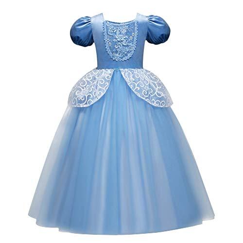 Kostüm Kinder Cinderella Prinzessin Kleid Mädchen Grimms Märchen Verkleidung Faschingskostüm Karneval Cosplay Party Halloween Festkleid 5-6 Jahre ()