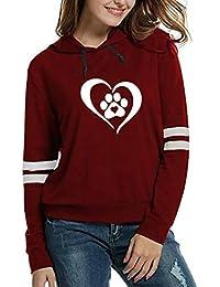 Mujer Sudaderas, ASHOP Manga Larga Corazón Prin Encapuchado Blusa Patchwork Talla Extra Sweatshirt Casual Encapuchado Sudadera Mujer Cremallera Corta Top Deporte