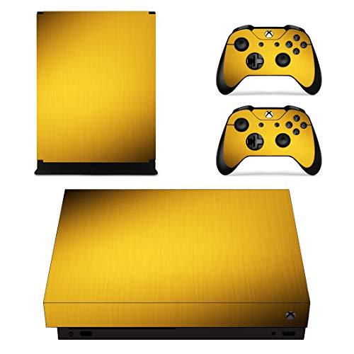 UncleSkins Aufkleber für Xbox One X Konsole Xbox One X Xbox 1 X Controller Skin Set Vinyl-Aufkleber Aufkleber Skin Cover gebürstetes Aluminium Golden Metal (Carbon Xbox Controller One)