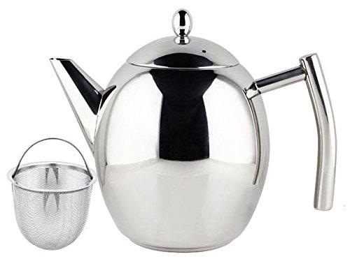 Elegante teiera 1 litro 1000ml in acciaio inox lucido con infusore colino