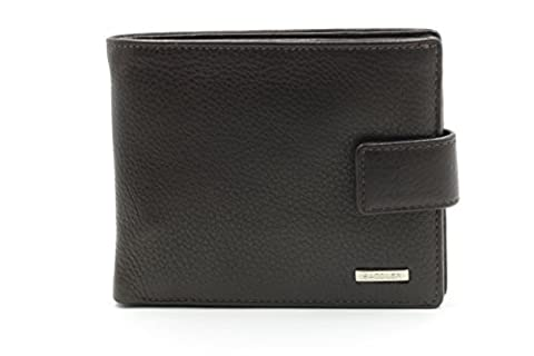 SADDLER Mens Nappa Leather Billfold Wallet - Zip Note Section Coin Purse - Black