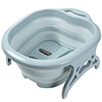 AIWANTO Collapsible Foot Soaking Bath Basin with Massage Roller | Large Size for Soaking Feet | Pedicure and Massager Tub for At Home Relax Foot Spa Treatment (Green)