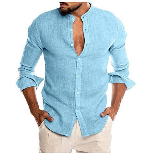 DNOQN Sport T Shirt Sweater Herren Gestreiftes Shirt Mode für Männer Beiläufig O-Ausschnitt Taste Solide Strand Langarm Top Bluse XXXL
