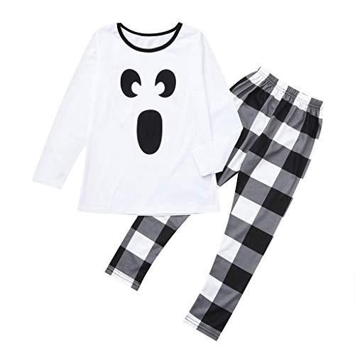 LILIGOD Halloween Kinder Bekleidungssets Jungen Mädchen Pyjamas Set Cartoon Langarm T-Shirt Tops + Plaid Hosen Familie Kleidung Bequem Lose Kleidung Set Schlafanzug -