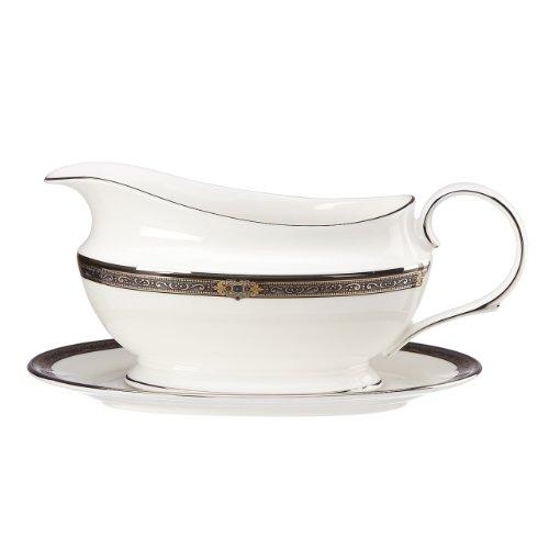 Lenox Jewel Platinum-Banded Vintage Englisches Porzellan, 5 Stück Tafelgeschirr aus Porzellan, Modell: Vintage Jewel von Lenox Sauce Boat weiß Lenox Sauce Boat