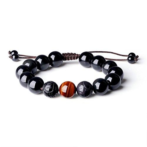 COAI® Naturstein Schwarzer Obsidian Tigerauge Beide Pixiu mit Gravur auf Obsidian Gebetsarmband für Herren (rotes Tigerauge)