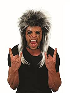 Fun Shack Adult Silver and Black Glam Rock Wig