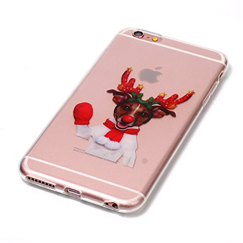 Copertura morbida del silicone TPU Per iPhone 6 Plus 5.5, Funyye Modello Natale bello Carino Disegni [Alce Modello] Brillantini Glitter Morbido Sottile Chiaro Leggero Gel Protettiva Case Flessibile D Divertente Alce