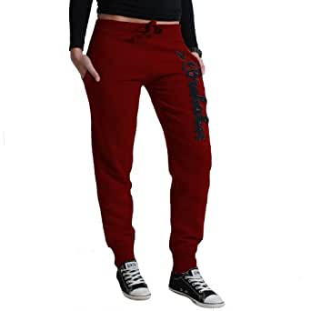 Brubaker NY Eagle pantalon de sport jogging bas survetement pour femme, rouge de vin, S