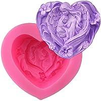Molde de silicona con forma de corazón de Cosanter con forma de ángeles para hacer uno