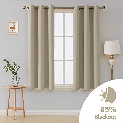 Deconovo Verdunkeln isoliert Blackout Tülle Fenster Vorhänge Panels Set of 2Für Wohnzimmer, beige (63 Lange Gardinen)