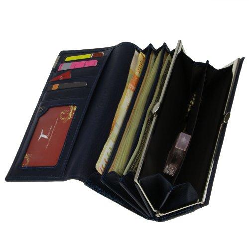 FakeFace Lady Lang Echtleder Geldbörse Geldbeutel mit Krokodil Muster Freizeit Portemonnaie Handytasche Brieftasche Geld Clip (Dunkelblau)