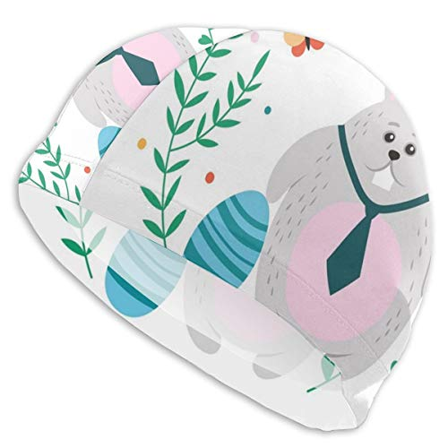 GUUi Swimming Cap Elastic Swimming Hat Diving Caps,Sweet Rabbit Tie Happy Easter Typography Plain Background,for Men Women Youths