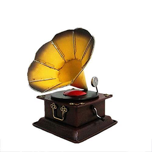 Material: hierro  artesanía: soldadura  categoría: otro  modelo de fonógrafo  forma colgante: decoración  estilo: europeo  forma: abstracto  angustiado: los golpes son viejos y texturizados, y cada detalle está cuidadosamente lacado y pulido por arte...