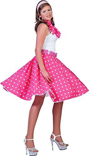 Tellerrock Pink Weiß 50er Rock´n Roll (Kostüme 50's And Roll Rock)
