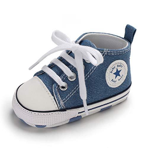 Auxma Babyschuhe Baby Schuhe Sneakers aus Leinwand mit weichen und rutschfesten Sohle Für 3-6 6-12 12-18 Monat (12-18 Monate, SBB) (3/4-länge-stiefel)