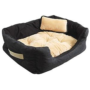 Lit pour animaux domestiques Niclas S INVERS de eyepower | noir-beige | panier corbeille canapé coussin amovible pour Chien Chiot Chat | env 52x40x16cm | base caoutchouté