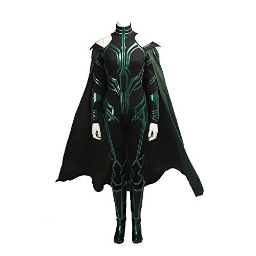 Kostüm Der Marvel Tod - FHTD Deluxe Edition Marvel Thor Cosplay Kostüm Göttin des Todes Kostüm Damen Onesies, Mäntel, Halloween Kostümfest Requisiten,Grün,S