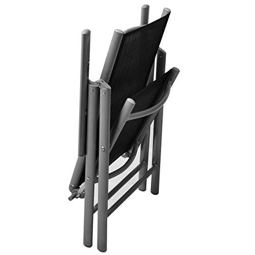 Nexos 4-er Set Stuhl, Klappstuhl, Gartenstuhl, Hochlehner für Terrasse, Balkon, Camping Festival, aus Aluminium verstellbar leicht, stabil, schwarz - 5