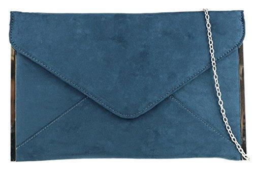 Girly HandbagsElegante Kunstleder Wildleder Clutch Bag Umschlag Plain Design Seiten Rahmen Hochzeit PromMarine -