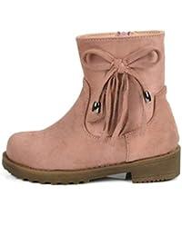 e8e235533 Niñas Botines niños Invierno cálido Felpa Nieve Botas Nudo Mariposa Zapatos  de tacón bajo Ocasionales con