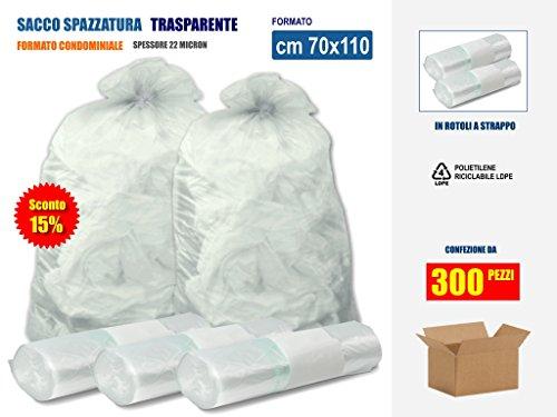 SCONTO 15% !! SACCHI SPAZZATURA TRASPARENTI IN PLASTICA PE-LD Cm 70x110 (110 litri) - SCATOLA DA 300 SACCHETTI