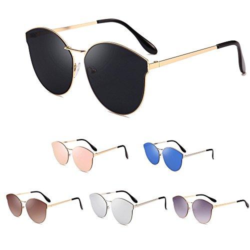 Galleria fotografica Topgrowth Occhiali da Sole da Donna Uomo Rotondi Vintage Sunglasses Cat Eye Occhiali Sottile Leggero Struttura in Metallo Occhiali