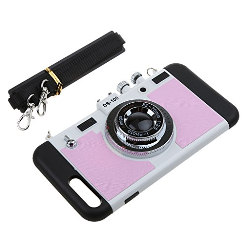 MagiDeal Schutzhülle Schutztasche Tasche Cover Hülle 3D Kamera Fotoapparat Retro für iPhone 7 Plus - Rosa