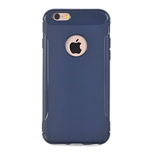 EKINHUI Case Cover Ultra Slim Carbon Fibre Button Desing Shockproof Hard Back Cover 360 ° Ganzkörper Schutz TPU Case Cover für iPhone 6 Plus & 6s Plus ( Color : Red ) Blue