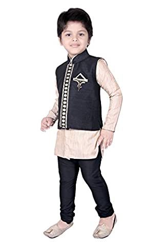 Pant Sherwani Suit With Pyjama Wedding Indian Party Wear Boys Toddler Infant Ethnic Trouser Traditional Wear (TC-9986-BLK-6)