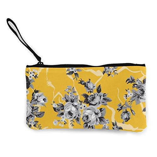 Wrution Vintage Chintz Rosen Nahtloses Muster Gelb Personalisierte Canvas Münzbörse Tasche Reißverschluss kleine Geldbörse weiblich tragbar große Kapazität Vintage Rose Chintz