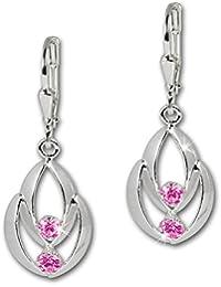 SilberDream Boucles d'oreilles - boucles d'oreilles Glamour zircon rose - argent sterling 925 pour femme - SDO522P
