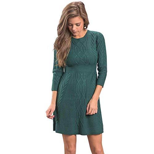 Kabel-Ärmel Pullover (KAIDILA Grüne Kabel Stricken ausgestattet 3/4 Ärmel Pullover Kleid Herbst/Winter Reine Farbe Rundhals siebenminütigen Hülse P Ullover Casual MIDI-Strick)