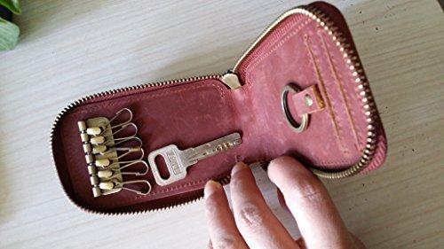 Everdoss Schlüsseltasche Leder Schlüsseletui Herren Auto Schlüsselanhänger Kreditkarten Inhaber Rot