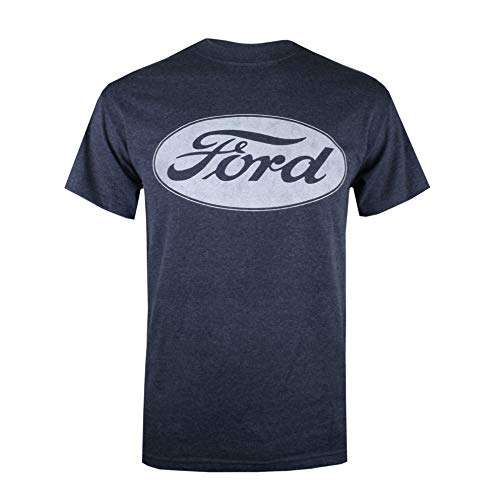 Ford Herren Logo T-Shirt, Blau (Heather Navy Hny), (Herstellergröße: Large) -