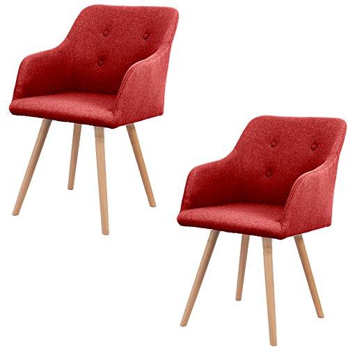 SAILUN® 2 x Esszimmerstuhl Wohnzimmerstuhl Bürostuhl Küchenstuhl, Gepolstert mit Massivholz Eiche Bein (D Type, Rot) -