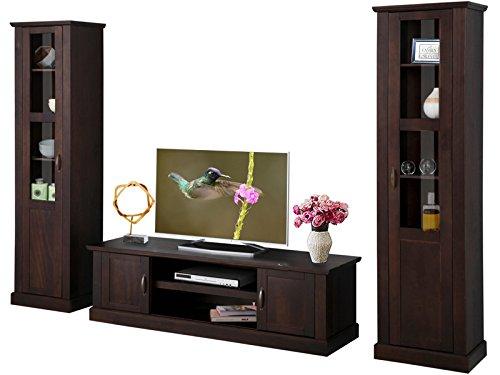 Massive Kiefer Holz Tv-schrank (MISCHA 3-tlg. Wohnwand Wohnzimmer-Set TV-Schrank Vitrine Landhausstil Kiefer massiv dunkelbraun (havanna))