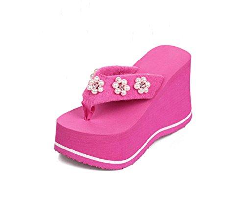 sandali della donna di crosta spessa della medaglia spiaggia selvaggia scarpe prugna diamante pistone di signora US6 / EU36 / UK4 / CN36