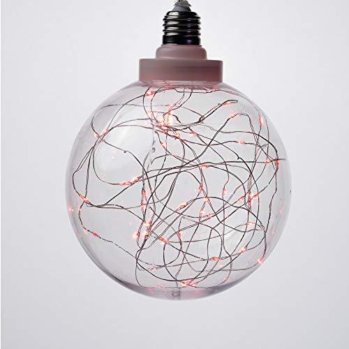 Sfera Luminosa Gigante in Vetro Lampadina Natalizia a Batteria con 50 Microled Rosso - Giochi di Luce: Flash - Distanza tra i LED: 5